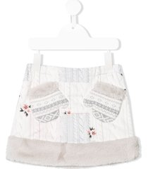 lapin house cable knit print skirt - grey