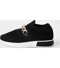 river island womens black wide fit chain runner trainers