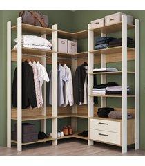 closet 2 gavetas 12 prateleiras cbcla04 off white/itapua - completa móveis