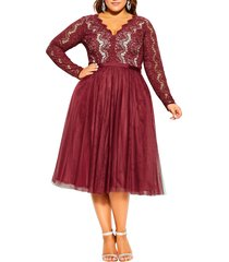 plus size women's city chic rare beauty lace fit & flare dress, size x-large - red