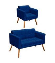 conjunto sofá retrô 2 lugares e 01 poltrona elisa suede azul royal - d'rossi