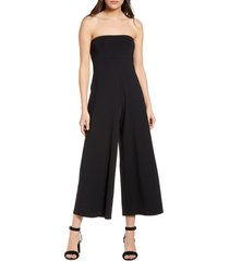 women's susana monaco strapless wide leg jumpsuit, size medium - black