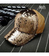 sombrero para mujer, gorro lentejuelas reflectantes-dorado