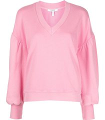 derek lam 10 crosby v-neck drop-shoulder sweatshirt - pink