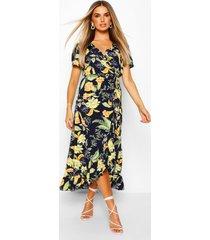 bloemenprint midaxi jurk met ruches, marineblauw