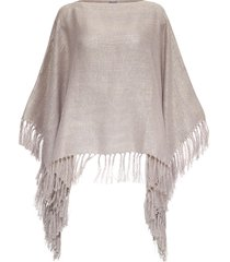 brunello cucinelli linen poncho with fringes