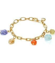 gold caroline issa gemstone bracelet