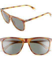women's polaroid 56mm polarized rectangle sunglasses - hvn honey/ grey lens