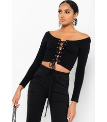 akira paxton on my own time lace up long sleeve crop top