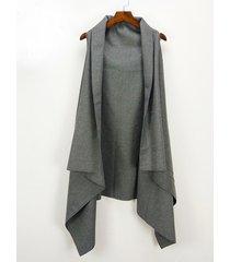 gilet a cardigan in lana a coda di rondine con mantello tinta unita