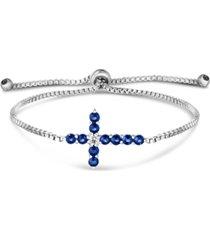 simulated cubic zirconia cross adjustable slider bolo bracelet in fine silver plate