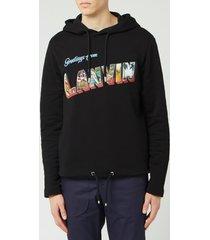 lanvin men's print hoodie - black - s