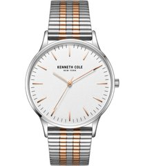 kenneth cole new york men's 3 hands silver-tone stainless steel watch on two-tone stainless steel mesh bracelet, 40mm