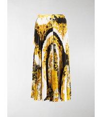 versace baroque-print pleated midi skirt