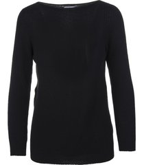 fedeli woman black cashmere pullover with boat neck