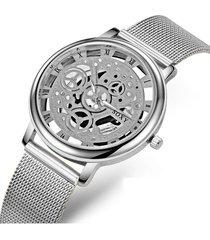 reloj cuarzo mujer maquinaria correa malla 0082 color plata