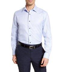 men's big & tall david donahue regular fit check dress shirt, size 18.5 - 36/37 - blue
