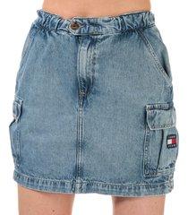 womens denim cargo mini skirt
