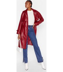 womens forever and faux leather belted trench coat - red