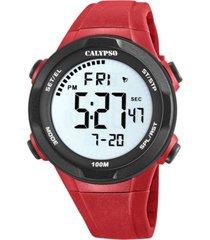 reloj digital for man rojo calypso