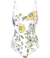 tory burch floral-print underwire one-piece - white