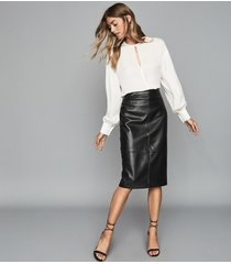 reiss kai - leather pencil skirt in black, womens, size 10