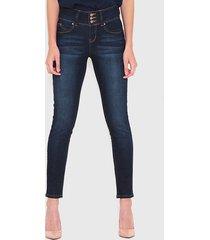 jeans wados pitillo 3 botones azul - calce ajustado