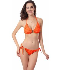 otsale womens strap ruffle 2pc-bikini-set swimwear beachwear (orange) nw081