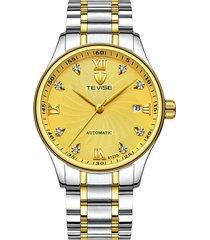 hoja de acero automática para hombres con reloj-dorado
