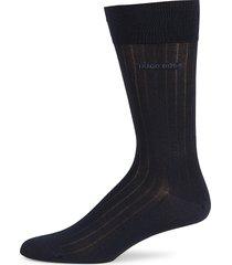 boss hugo boss men's peter stretch cotton-blend mid-calf socks - dark blue