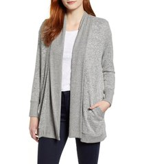 women's gibson cozy ribbed cardigan, size small - grey