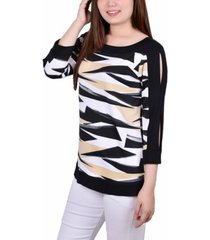 ny collection petite contrast band tunic with sleeve cut-outs