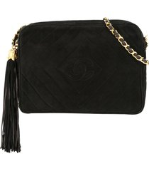 chanel pre-owned 1991-1994 cc fringe chain shoulder bag - black