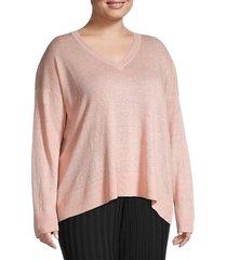 eileen fisher women's plus v-neck linen sweater - light pink - size 1x (14-16)