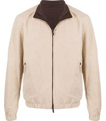 ermenegildo zegna zip-up funnel-neck jacket - neutrals