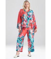 natori bloom notch pajamas, women's, size l sleep & loungewear