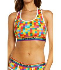 tomboyx next gen racerback bra, size 6 x in rainbow squared print at nordstrom
