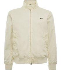 lacoste water-resistant cotton zip jacket   beige   bh1045-056