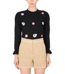 boutique moschino sweater with crochet flowers