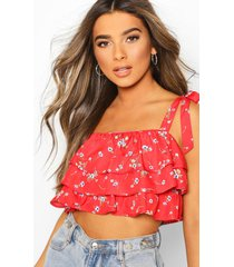 petite ditsy ruffle crop top, red