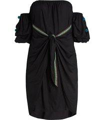 bali wrap off-the-shoulder dress