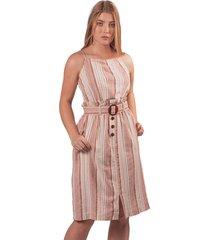 vestido adrissa en lino silueta bolsa de papel terracota