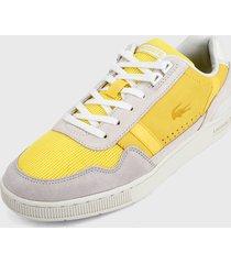 tenis gris-amarillo lacoste t-clip