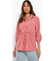 blouse met textuur en zak detail, terracotta