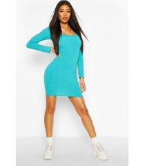 jumbo rib sqaure neck bodycon dress, turquoise