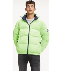 tommy hilfiger men's reversible puffer jacket lime green/navy blue - xl