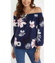 blusa de manga larga con hombros descubiertos y estampado floral al azar azul marino
