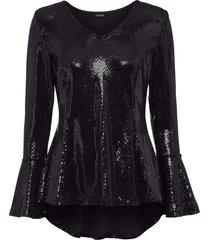 maglia glitterata con maniche a campana (nero) - bodyflirt