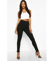 high waist skinny jeans, black