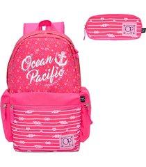 mochila ocean pacific pink opm182147 com estojo